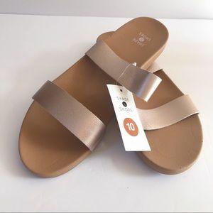 Shade & Shore Rose Gold Two Strap Slide Sandals